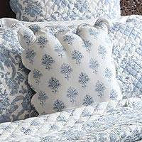 Cotton cushion cover, 'Bombay Toile' - India Hand-Stitched Cotton Block Print Quilted Cushion Cover