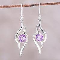 Amethyst dangle earrings, 'Dazzling Gleam' - Wave Motif Amethyst Dangle Earrings from India