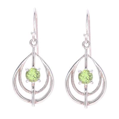 Drop-Shaped Peridot Dangle Earrings from India