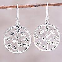 Sterling silver dangle earrings, 'Floral Windows' - Openwork Floral Sterling Silver Dangle Earrings from India