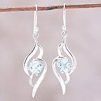 Blue topaz dangle earrings, 'Dazzling Gleam' - Wave Motif Blue Topaz Dangle Earrings from India