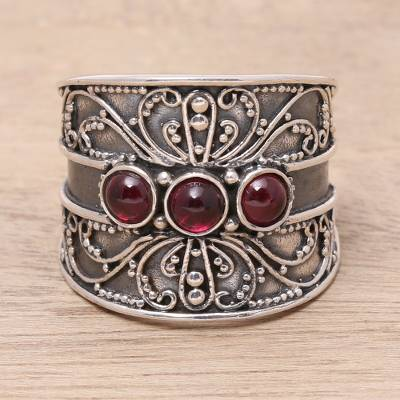 Garnet cocktail ring, 'Antique Elegance' - Natural Garnet Triple Stone Cocktail Ring from India