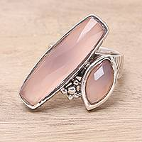 Rose quartz cocktail ring, 'Contemporary Mystic' - Rose Quartz Two-Stone Cocktail Ring from India