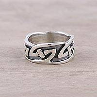 Men's sterling silver band ring, 'Celtic Allure' - Men's Sterling Silver Celtic Motif Band Ring from India