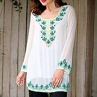 Beaded tunic, 'Day Celebration' - White Polyester Floral Beaded Long Sleeved Tunic