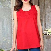 Cotton blouse, 'Crimson Charm' - Artisan Crafted Cotton Blouse in Crimson from India