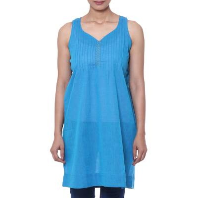 Glass Beaded Cotton Tunic in Azure from India