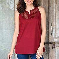 Cotton blouse, 'Burgundy Charm' - Glass Beaded Cotton Blouse in Burgundy from India