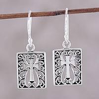 Sterling silver cross earrings, 'Faith Window' - Sterling Silver Cross and Scroll Dangle Earrings from India