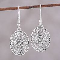 Sterling silver dangle earrings, 'Celebrated Daisy' - Oval Sterling Silver Flower Motif Dangle Earrings from India