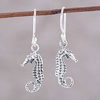 Sterling silver dangle earrings, 'Serene Seahorses' - Artisan Crafted Sterling Silver Seahorse Dangle Earrings