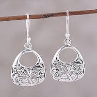 Sterling silver dangle earrings, 'Flower Basket' - Sterling Silver Flower Basket Dangle Earrings from India