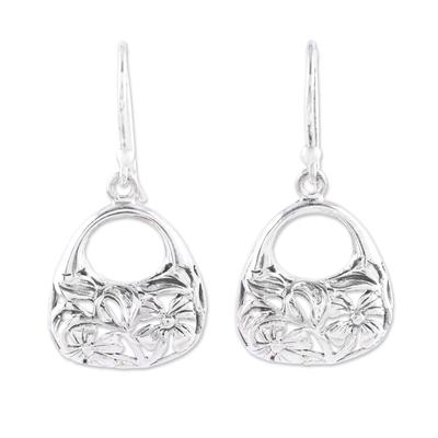 Sterling silver dangle earrings, 'Flower Basket' - Sterling Silver Flower Basket Dangle Earrings from India