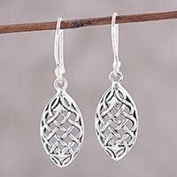Sterling silver dangle earrings, 'Elegant Weave' - Sterling Silver Openwork Weave Dangle Earrings from India