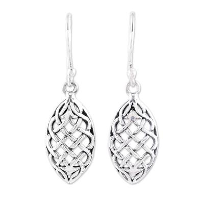 Sterling silver dangle earrings, 'Elegant Weave' - Sterling Silver Openwork Weave Dangle Earrings from India
