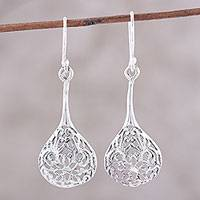 Sterling silver dangle earrings, 'Garden Dewdrops' - Sterling Silver Openwork Floral Dangle Earrings from India
