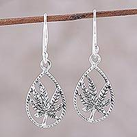 Sterling silver dangle earrings, 'Precious Palms' - Handcrafted Sterling Silver Palm Leaf Dangle Earrings