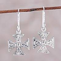 Sterling silver dangle earrings, 'Elegant Cross' - Sterling Silver Openwork Cross Dangle Earrings from India