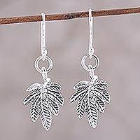 Sterling silver dangle earrings, 'Fancy Foliage' - Sterling Silver Textured Leaves Dangle Earrings from India