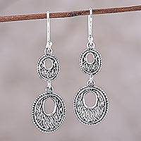 Sterling silver dangle earrings, 'Cascading Ovals' - Sterling Silver Double Oval Dangle Earrings from India
