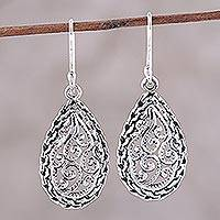 Sterling silver dangle earrings, 'Furling Fronds' - Sterling Silver Ornate Openwork Dangle Earrings from India