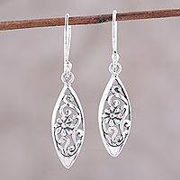 Sterling silver dangle earrings, 'Garden Glimpse' - Sterling Silver Floral Ovals Dangle Earrings from India