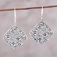 Sterling silver dangle earrings, 'Garden Blooms' - Sterling Silver Floral Diamonds Dangle Earrings from India