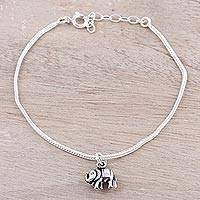 Sterling silver charm bracelet, 'Friendly Elephant' - Sterling Silver Adjustable Extender Elephant Charm Bracelet