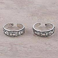 Sterling silver toe rings, 'Wondrous Webs' (pair)