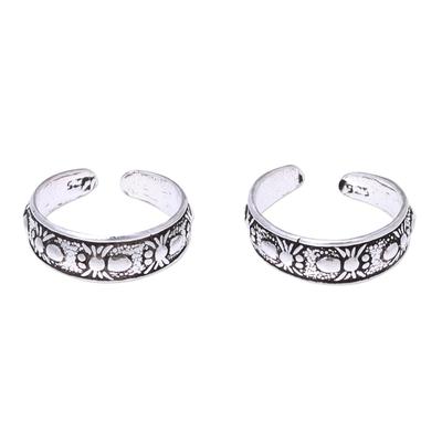 Sterling silver toe rings, 'Wondrous Webs' (pair) - Sterling Silver Adjustable Spider Web Pair of Toe Rings