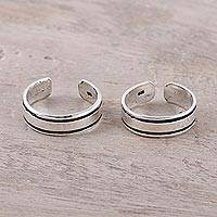 Sterling silver toe rings, 'Divine Minimalism' (pair)