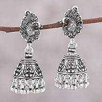 Sterling silver chandelier earrings, 'Jhumki Peacocks'