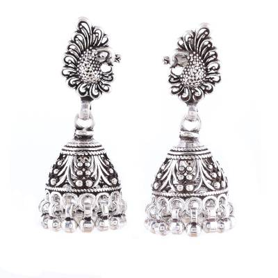 Sterling silver chandelier earrings, 'Jhumki Peacocks' - Sterling Silver Peacock Jhumki Chandelier Earrings
