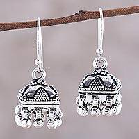 Sterling silver chandelier earrings, 'Dancing Jhumki' - Sterling Silver Dotted Statement Jhumki Chandelier Earrings