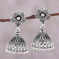 Sterling silver chandelier earrings, 'Floral Parasol' - Sterling Silver Jhumki Floral Parasol Chandelier Earrings