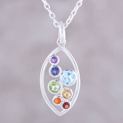 Multi-Gemstone and Sterling Silver Ellipse Pendant Necklace, 'Rainbow  Within'