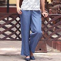 Linen blend pants, 'Relaxed Yet Refined' - Azure Blue Linen Blend Relaxed Fit Pants from India