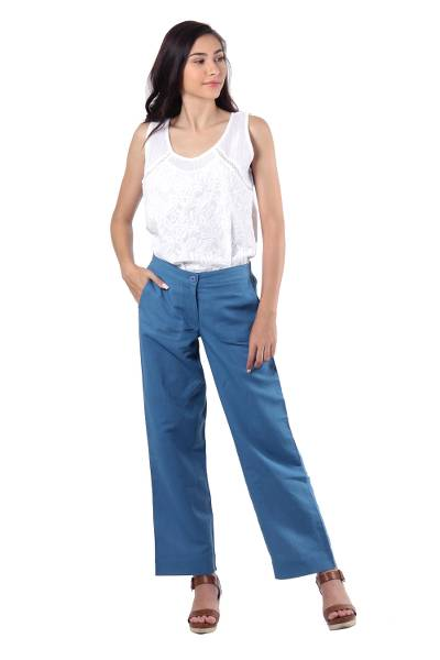 Linen blend pants, 'Relaxed Yet Refined' - Azure Blue Linen Blend Relaxed Fit Pants from India