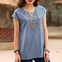 Cotton tunic, 'Welcome Spring' - Blue Cotton Floral Embroidery Casual Blouse with Fringe