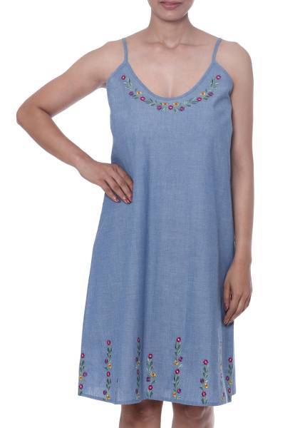 Blue Cotton Embroidered Floral Casual Sundress from India