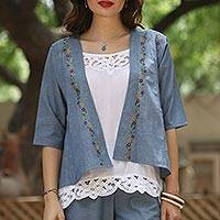 Cotton jacket, 'Spring Delight' - Blue Cotton Floral Embroidered Open Kimono Jacket