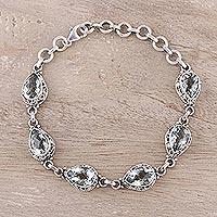 Prasiolite link bracelet 'Verdant Mist' - India Handcrafted Prasiolite and Sterling Silver Bracelet