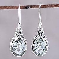 Prasiolite dangle earrings, 'Verdant Mist' - Prasiolite and Sterling Silver Dangle Earrings from India