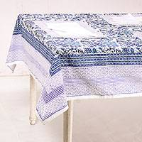 Cotton table linen set, 'Royal Garden' (set for 6) - Floral Cotton Table Linen Set in Blue from India (Set for 6)