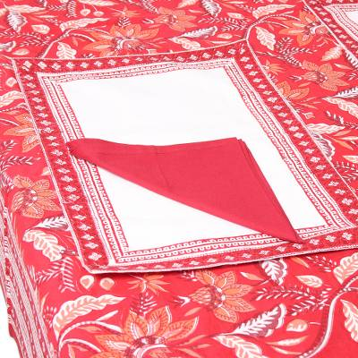 Cotton table linen set, 'Red Garden' (set for 6) - Floral Cotton Table Linen Set in Red from India (Set for 6)