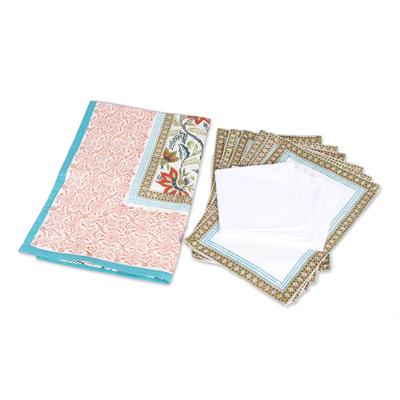 Cotton table linen set, 'Colorful Garden' (set for 6) - Multicolored Floral Cotton Table Linen Set (for 6)