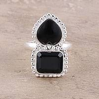 Onyx cocktail ring, 'Lady of Delhi' - Faceted Black Onyx Sterling Silver Heart Cocktail Ring