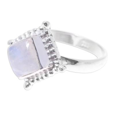 Rainbow Moonstone Lunar Mist Sterling Silver Cocktail Ring