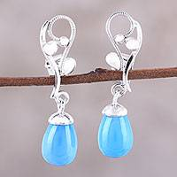 Rhodium plated chalcedony dangle earrings, 'Garden Melody' - Blue Chalcedony and Sterling Silver Vine Dangle Earrings