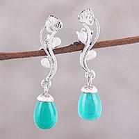 Green onyx dangle earrings, 'Dew on the Vine' - Green Onyx Rhodium-Plated Sterling Silver Dangle Earrings